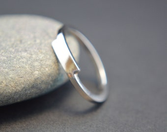 Sterling Silver Crossover Ring, Bypass Ring, Overlap Ring