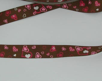 1 meter Ribbon satin grosgrain 16mm Brown with pink/Fuchsia/white heart