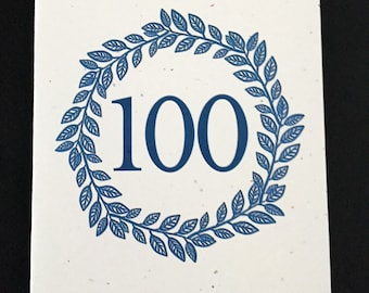 Masculine 100th Birthday Card, Laurel Wreath Birthday Card, Blue, Birthday Card for Dad, Card for Grandad, Card for Uncle