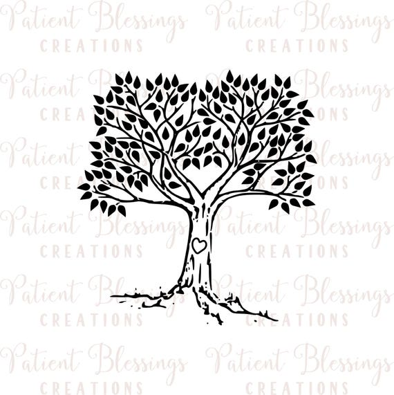 Wedding Tree Genealogy Chart By Melangeriedesign On Etsy: Wedding Guestbook Or Family Tree SVG DXF EPS Pdf And Jpeg