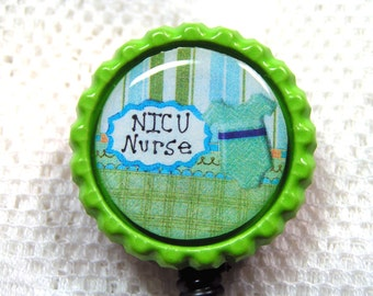 retractable id badge holder for NICU nurse,shades of green id badge reel,NICU nurse name badge clip, name tag clip for NICU nurse