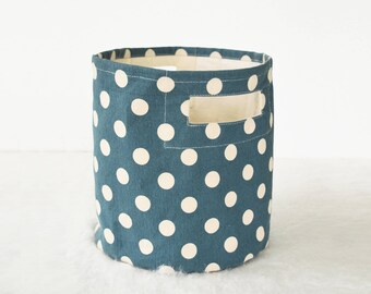 Storage basket, polka dot, denim blue and off white, laundry basket, canvas fabric, fabric bin, sizes available