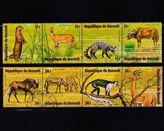 African Animals-Postage Stamps-Republic of Burundi Africa Wildlife-Antelope-Monkey-Crafts Supplies-Scrapbooking Journal-Card Making Ephemera