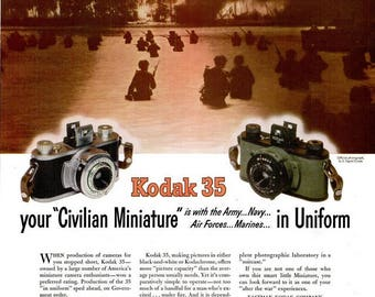 1944 Kodak WWII Advertisement Print Poster Photography Picture World War Two Wartime Army Navy Air Forces Marines Wall Art Home Decor