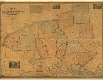 Delaware County 1848b  Pennsylvania  Wall Map with Homeowner Names - Genealogy - Reprint