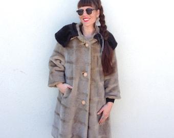 Vintage coat brown coat Faux Fur coat Vegan friendly coat Mod coat Long coat XL coat Winter coat Fall Coat retro coat classic coat