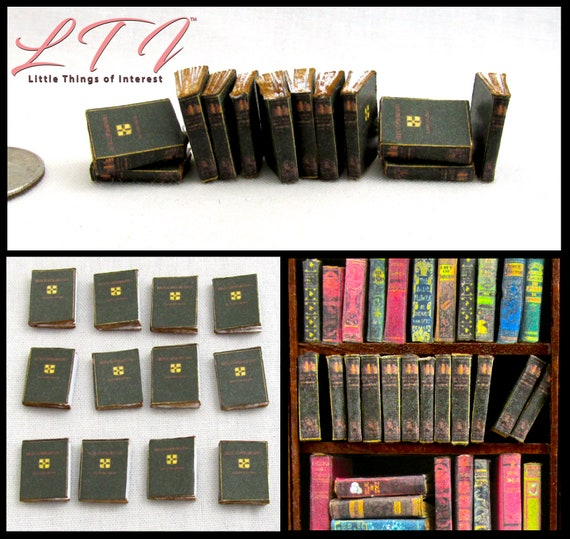 1:24 Scale 12 ENCYCLOPEDIA BOOKS Miniature Books Prop Faux Fill a Bookshelf Paper Pages Reference Knowledge