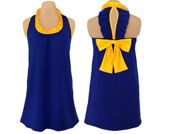 Blue or Navy + Yellow Back Bow Dress