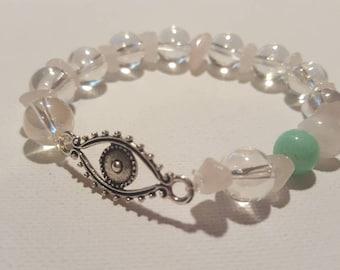 Evil EYE bracelet - Turkish eye bangle - aura quartz green jade rose quartz Protection Yoga Meditation Cleansing