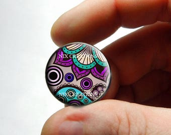 Glass Cabochon - Art Deco Floral Design 5 - for Jewelry and Pendant Making
