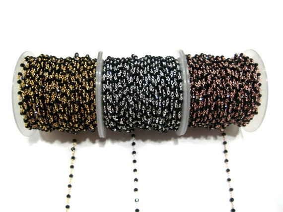 Wholesale Black Onyx Beaded chain spools Gold Plated Silver