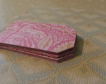 Hand Punched 20 Pink Paisley Paper Scrapbooking Gift Tags