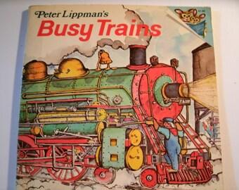 Busy Trains, Peter Lippman, Random House Pictureback, Vintage 1970s Children's Book, 1978
