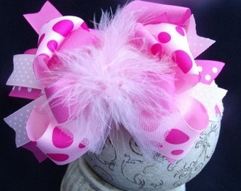 SASSYLILPRINCESSES..Over the Top Pretty Pink Bow and Interchangeable Headband