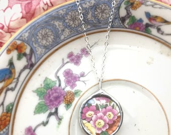 Vintage Little Broken Plate Folklore  Rose Necklace