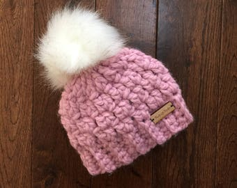 Rose Pink Crochet Fall Hat with White Faux Fur Pom Pom, Winter Hat, Newborn Photoshoot, Photo Prop