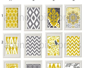Wall Art Yellow Grey Ikat Damask Modern Inspired Pictures -Pick Any (3) Any Color - 8x10 Prints - (UNFRAMED)