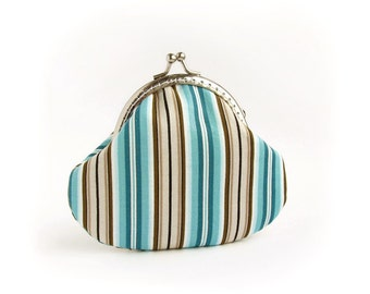 Kisslock Stripes Coin Purse, Turquoise, Brown, Emerald Green Pouch