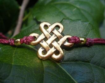 Celtic Eternity 22K Gold Plated Minimalist Knotting Cord Bracelet