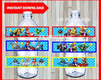 Printable Mario Kart Water Bottle labels instant download, Mario Bros party bottle labels, Printable Mario Kart Bottle labels