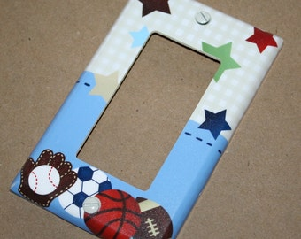 All Star Sports Boys Bedroom Single Light Switch Cover LS0003