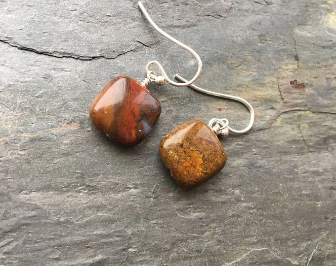 Unique Jasper Puffy Square Littles Earrings Sterling Silver Basic Maroon Simple Cute Healing Chakra Energy Gemstones Inspirational Gift