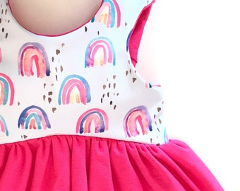 RAINBOW Cropped Top, Tunic, or dress - Toddler/Girls, crop top, cropped top, pastel rainbow