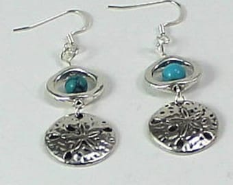 Turquoise and Sand Dollar Earrings