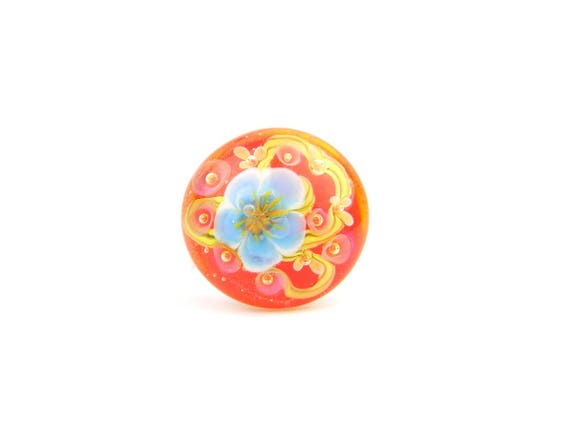 Art Glass Ring - Poppy Sakura Art Glass Bead Sterling Silver Ring - Classic Collection