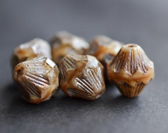Brown Czech Glass Beads / Rustic 14mm Picasso Bead / Jewelry Findings