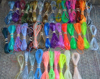 Specialty lot  410 yards glow tri DUO clear HOLO colors rexlace boondoggle plastic lacing gimp lanyard