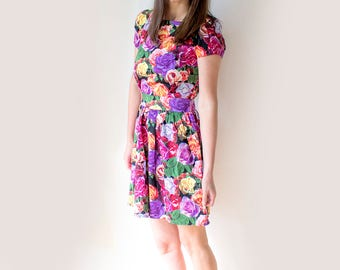 Vintage Floral Prom Dress, Bohemian Pink Summer Dress, Garden Party Dress, Floral Rose Dress, 90s Floral Babydoll Dress, Vintage Pinup Dress