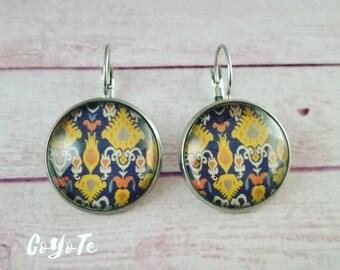Ikat pendant earrings, glass cabochon, boho earrings, Ikat cameo