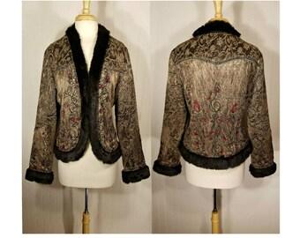 Womens Boho Jacket, Tapestry Embroidered Floral Coat, Ethnic jacket, Hippie jacket, Faux Fur Coat, Sequins, Bohemian, Festival, Tribal, Fur