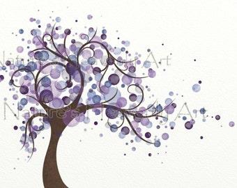 Purple Wall Decor Wind Blowing Tree Watercolor Art 8 x 10 Print, Circles, Modern Home Decor (169)