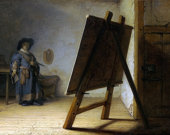 Rembrandt: The Artist in his Studio. Fine Art Print/Poster (00179)