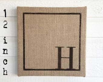 Classic Monogram 12x12  Burlap Covered Cork Message Board   Personalized Letter  Pin Board, Cork Board, Bulletin Board, Memo Board  - Custom