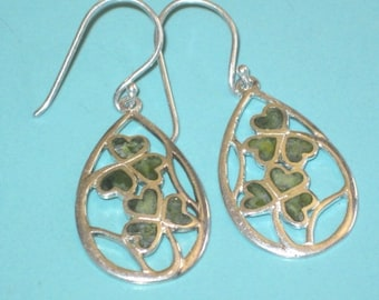 "Sterling Silver 925 IRELAND CONNEMARA Clover 1 5/8"" Drop Dangle Earrings"