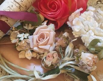 Vintage// BROCANTE// Flower// Corsages// Set Of 4// Millinery// Roses// Ballet Tutu// Mannequin// Vintage Hats// Lovely Corsages!