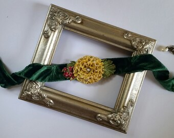 Yellow Chrysanthemum Flower Choker in Green Velvet, Handcrafted Floral Necklace