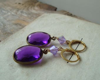 Purple Rhinestone Earrings With Crystal Vintage Style Bridesmaid Brass Mothers Day Jewelry February Birthstone Spring Gifts Under 30
