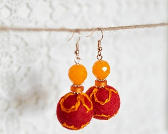 Embroidered felt bead: red orange sunny Summer Earrings