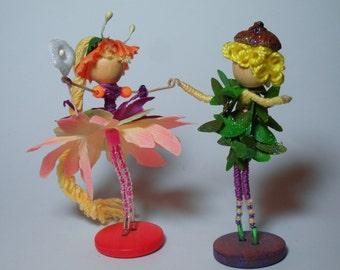 Flower Fairy Doll Angel Waldorf Miniature Spring Equinox  Miniature Waldorf Fairie Art Doll Collectable Faeries