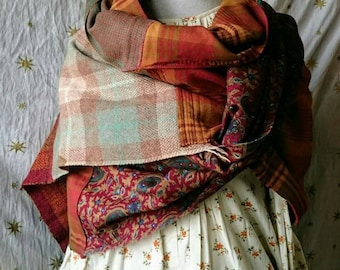 Large patchwork handwoven knitted Scarf Wrap in Autumn colours, upcycled clothing,  boho, hippie, festival, rustic, orange,brown,romantic