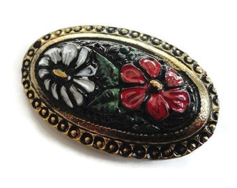 Hand Painted Victorian Glass Button - Vintage Floral c.1900 for Jewelry Supplies Beads Sewing Knitting Molding