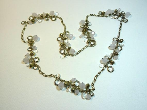 SJC10283 - Vintage gold color clear white charm long chain necklace