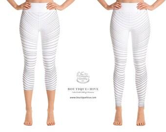 Designer Leggings - WHITE-RAYS - Yoga Leggings - Capri - by BoutiqueHive