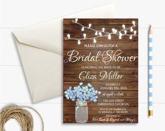 Rustic Printable Bridal Shower Invitation,Wood Bridal Shower Invitation,Flower Mason Jar Bridal Invitation, Country Bridal Shower Invitation