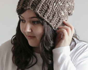 Chunky Fair Isle Hat Knit Slouchy Beanie With Pom Pom | THE KINSARVIK in Barley and Oatmeal