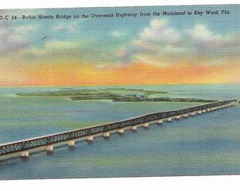 Vintage Florida Linen Postcard Bahia Honda Bridge on the Overseas Highway from the Mainland to Key West UNUSED
